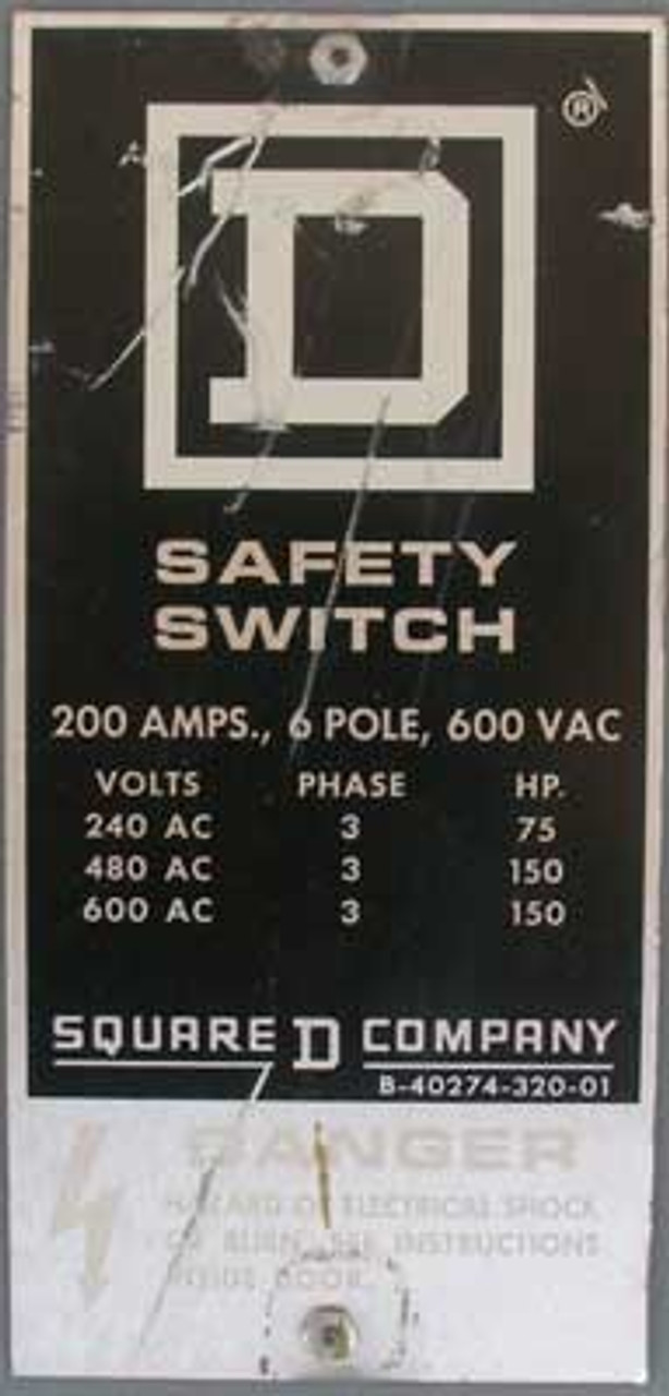 Square D HU664RWK Safety Switch 200 Amp 6 Pole 600 VAC 3 Phase - Reconditioned