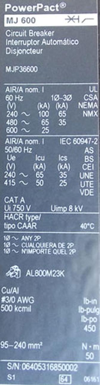 Square D MJP36600 3 Pole 600 Amp 600V MC Circuit Breaker - Used