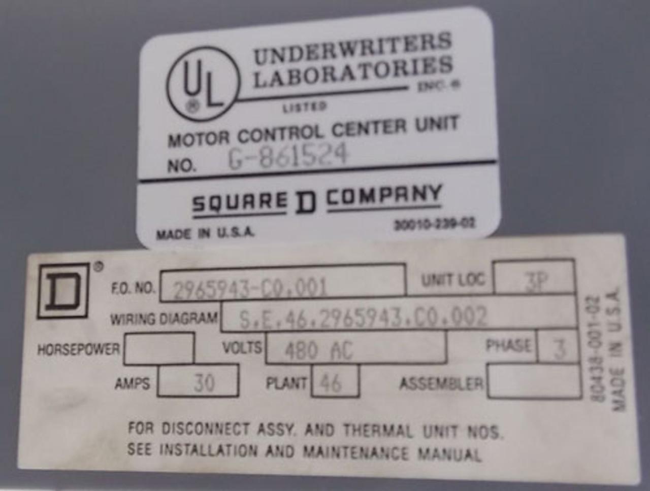 Square D Model 5 Motor Control Center Feeder Bucket 30A 480V 3PH - Used