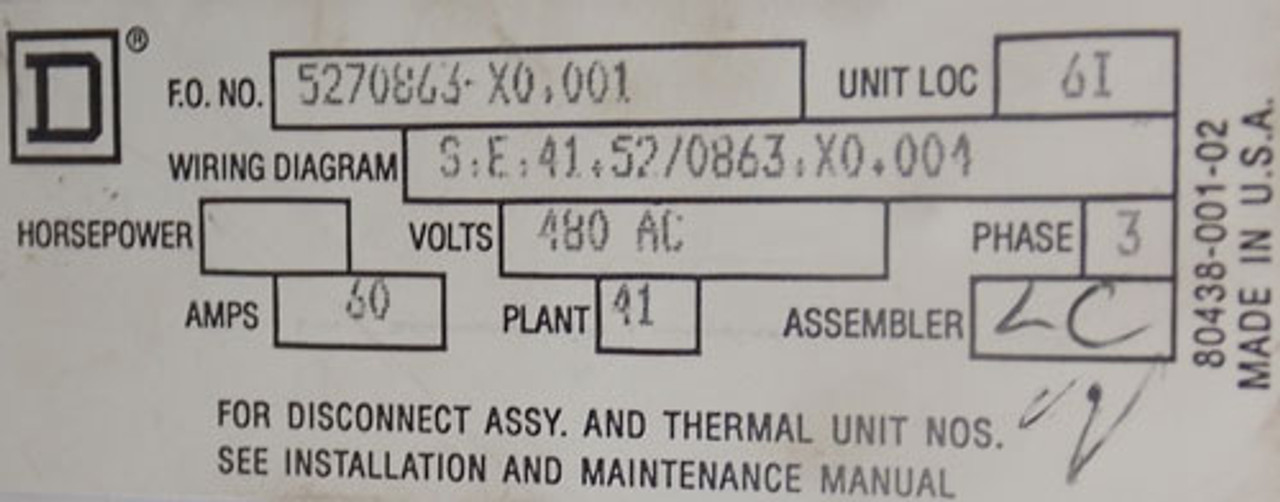 Square D Model 6 MCC Feeder Bucket 3PH 60A 480VAC - Used