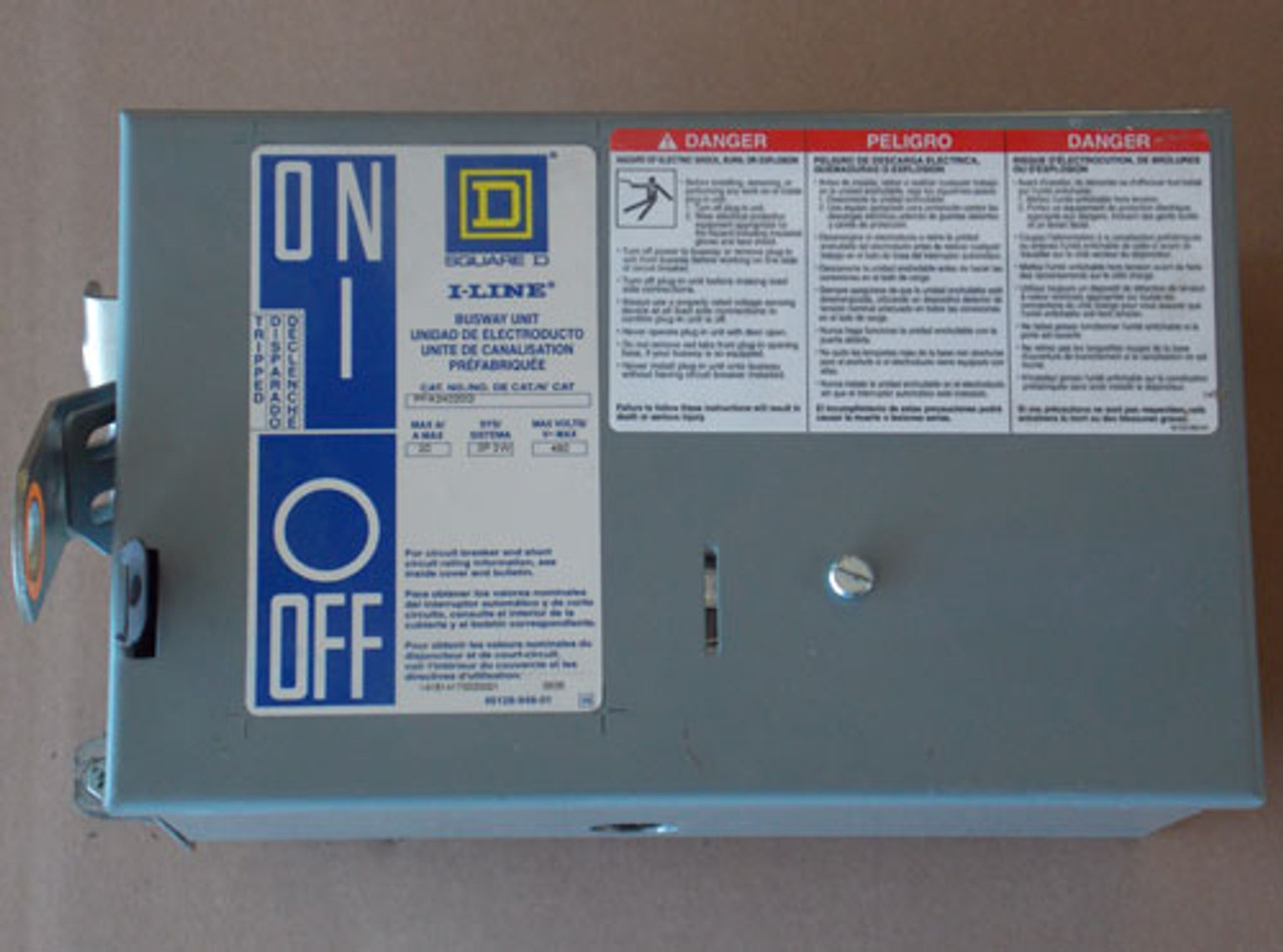 Square D PFA34020G 20 Amp 3 Pole 3 Wire 480VAC Busway Switch - Used