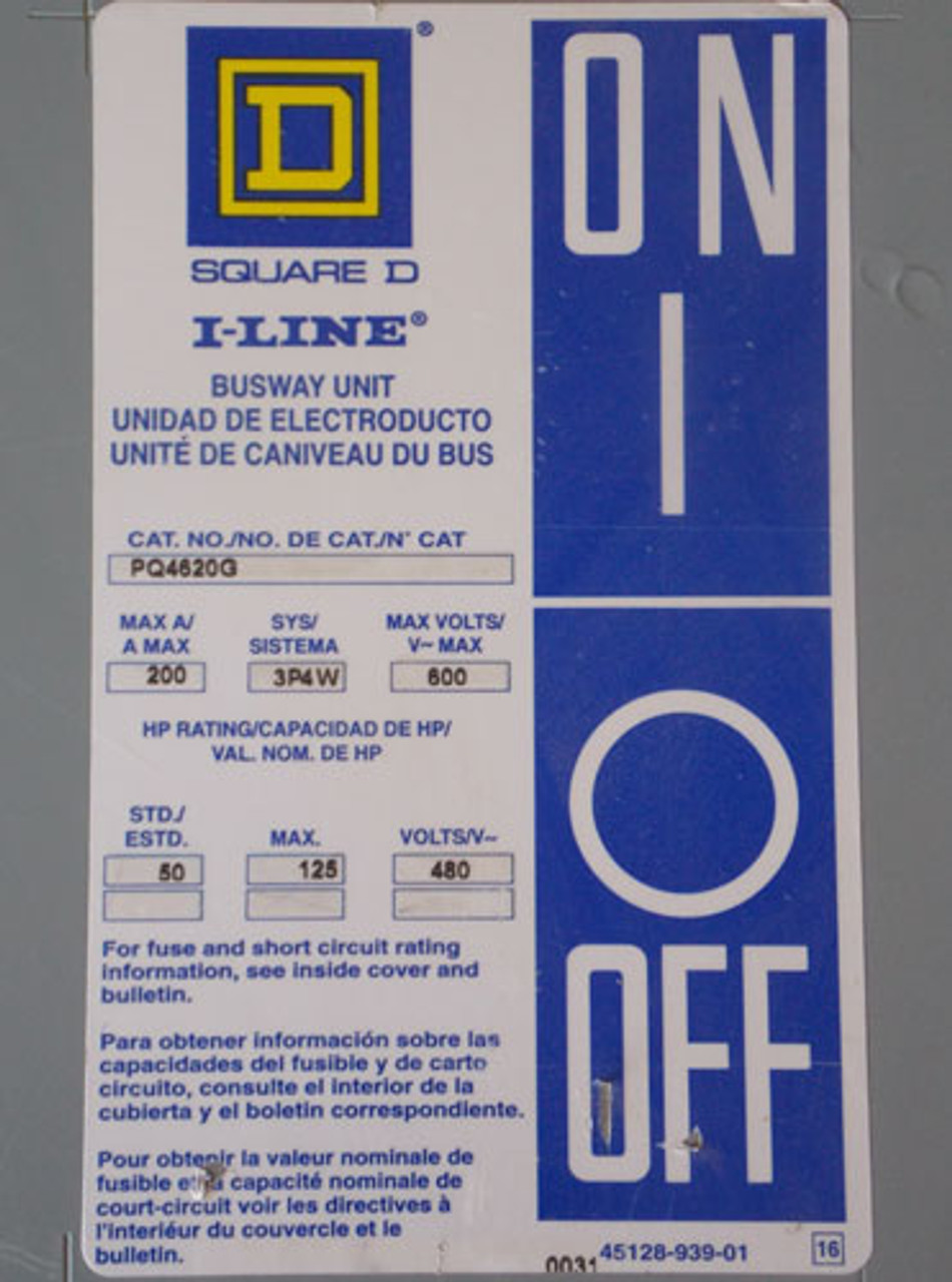 Square D PQ4620G 3 Phase 200 Amp 600V Fusible Busway Switch Used
