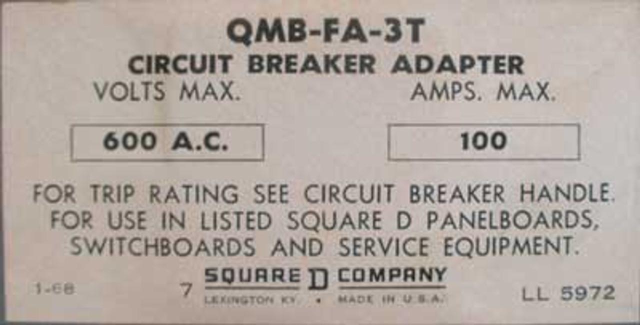 Square D QMB-FA-3T 100A 600V Circuit Breaker Adaptor-50 & 30A Breakers - Used