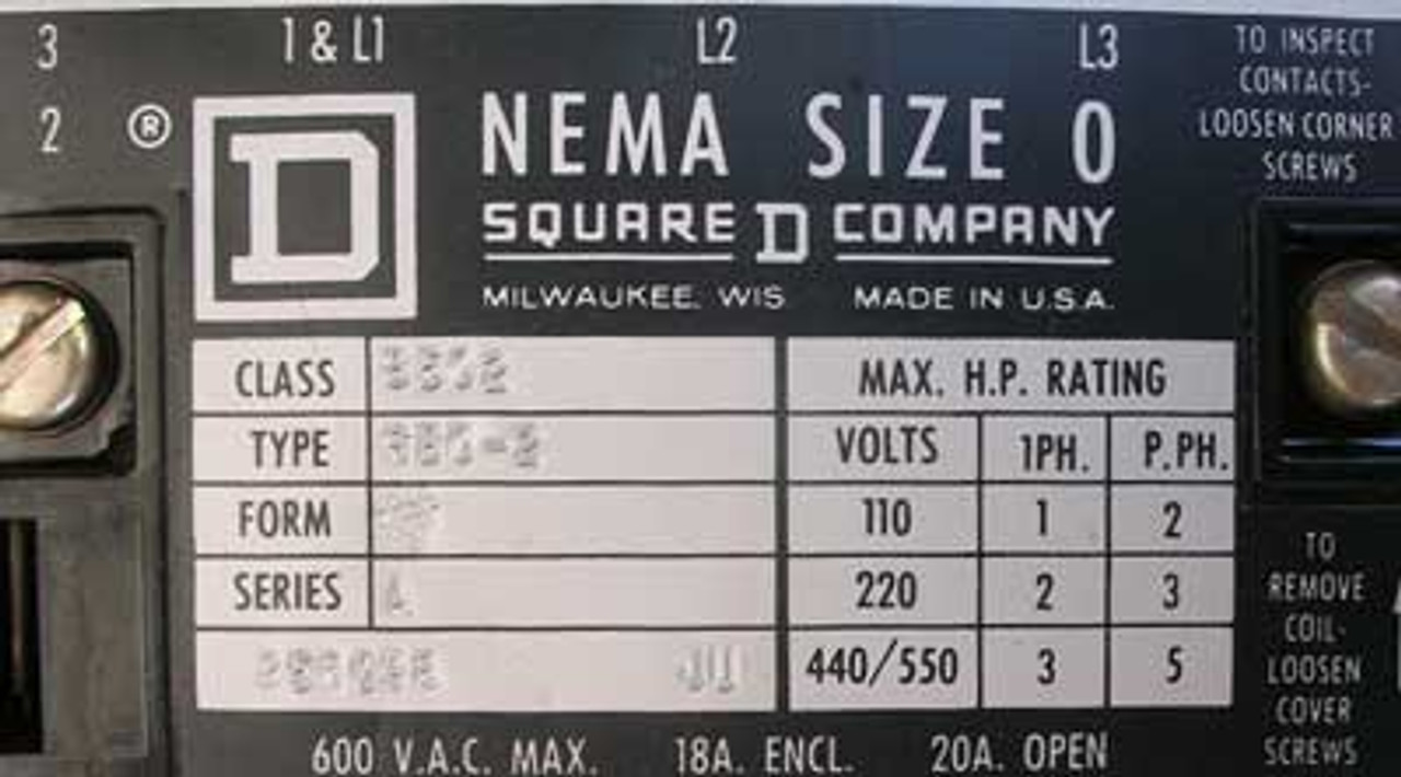 Square D Saflex Bucket with 2 8502 SBO-2 Size 0 Contactors - Used