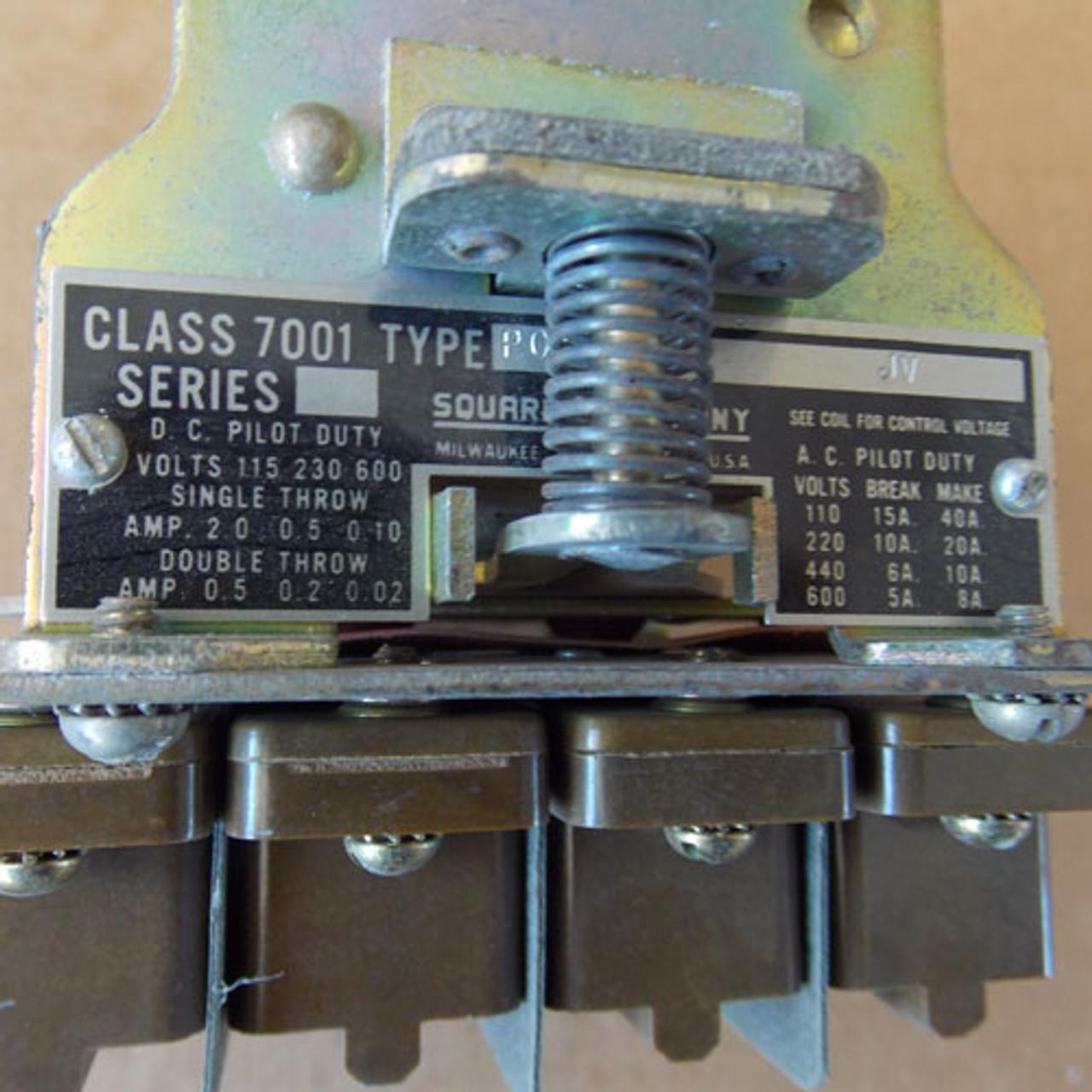 Square D Type 7001 PO-4 JV Magnetic Relay 24VDC Coil - Used