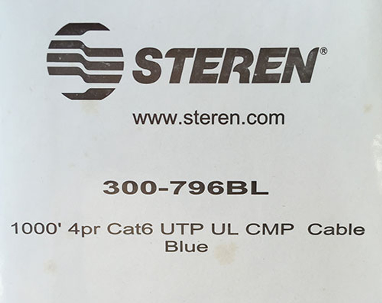 Steren 300-796BL Category 6 Unshielded Plenum Cable 4 Pair UTP UL Blue 1000' - New