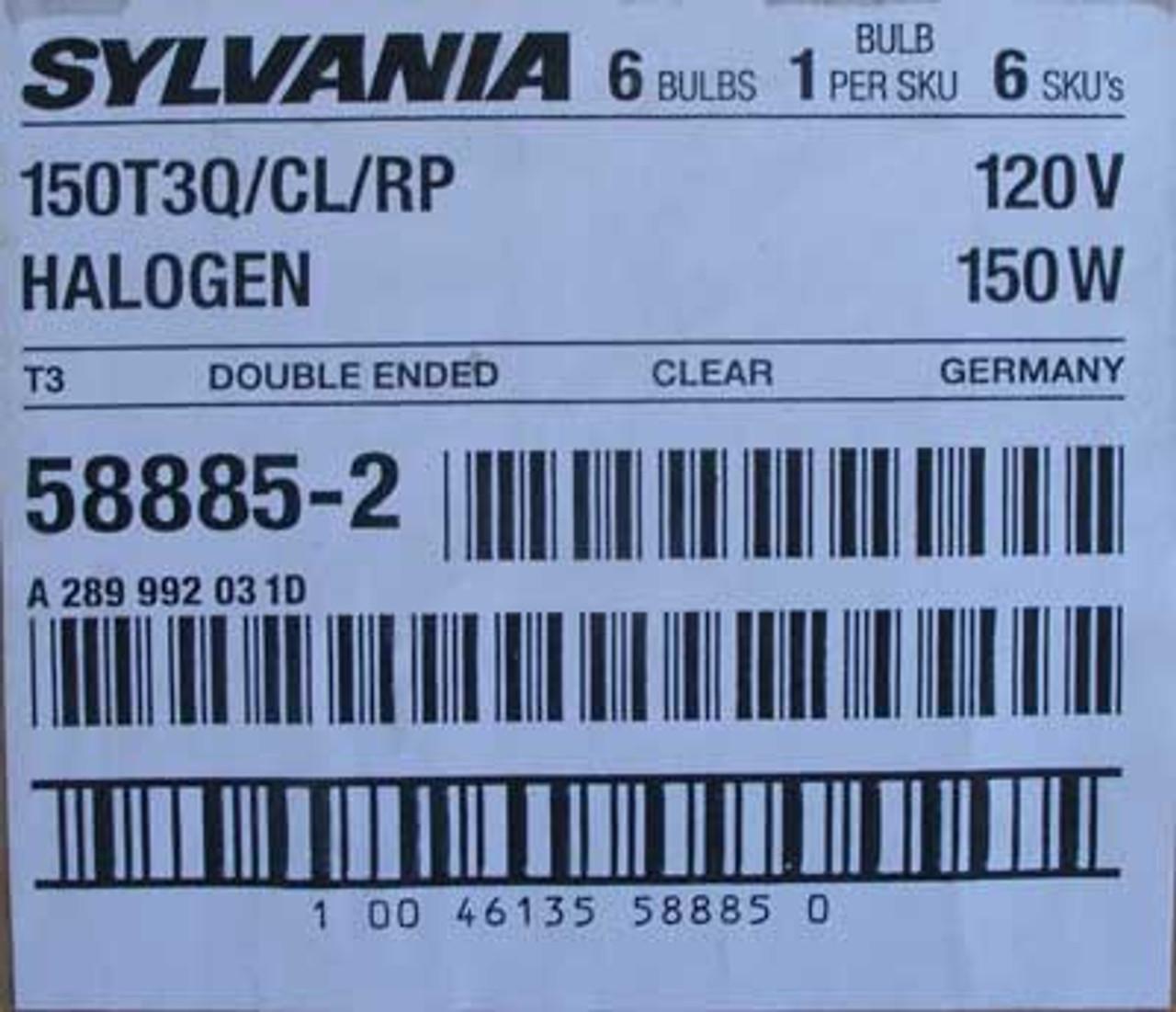 Sylvania 150T3Q/CL/RP 150W 120V Dbl Ended Halogen Light Bulb -Lot of 6 - New