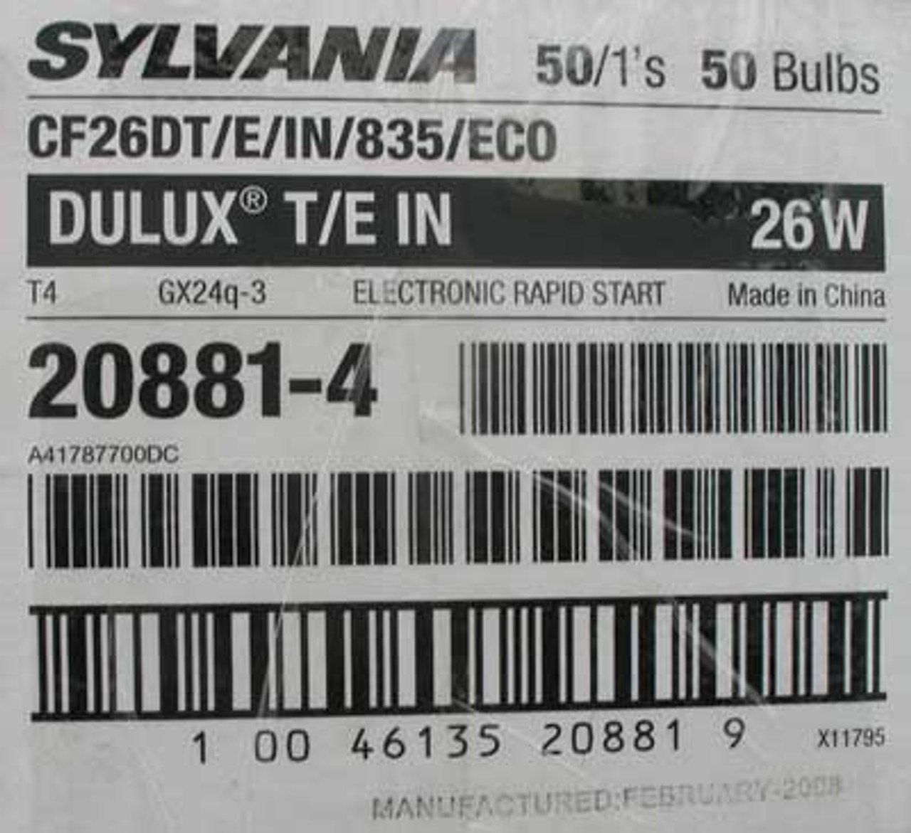 Sylvania CF26DT/E/IN/835/ECO Dulux T/E 26W Comp Fluorescent Bulb, 2PC - New