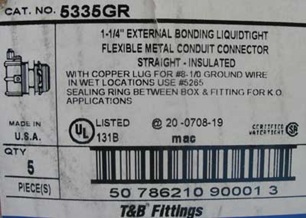"""T&B Fittings 5335GR 1-1/4"""" Conduit Connector Straight, Box of 5 - New"""