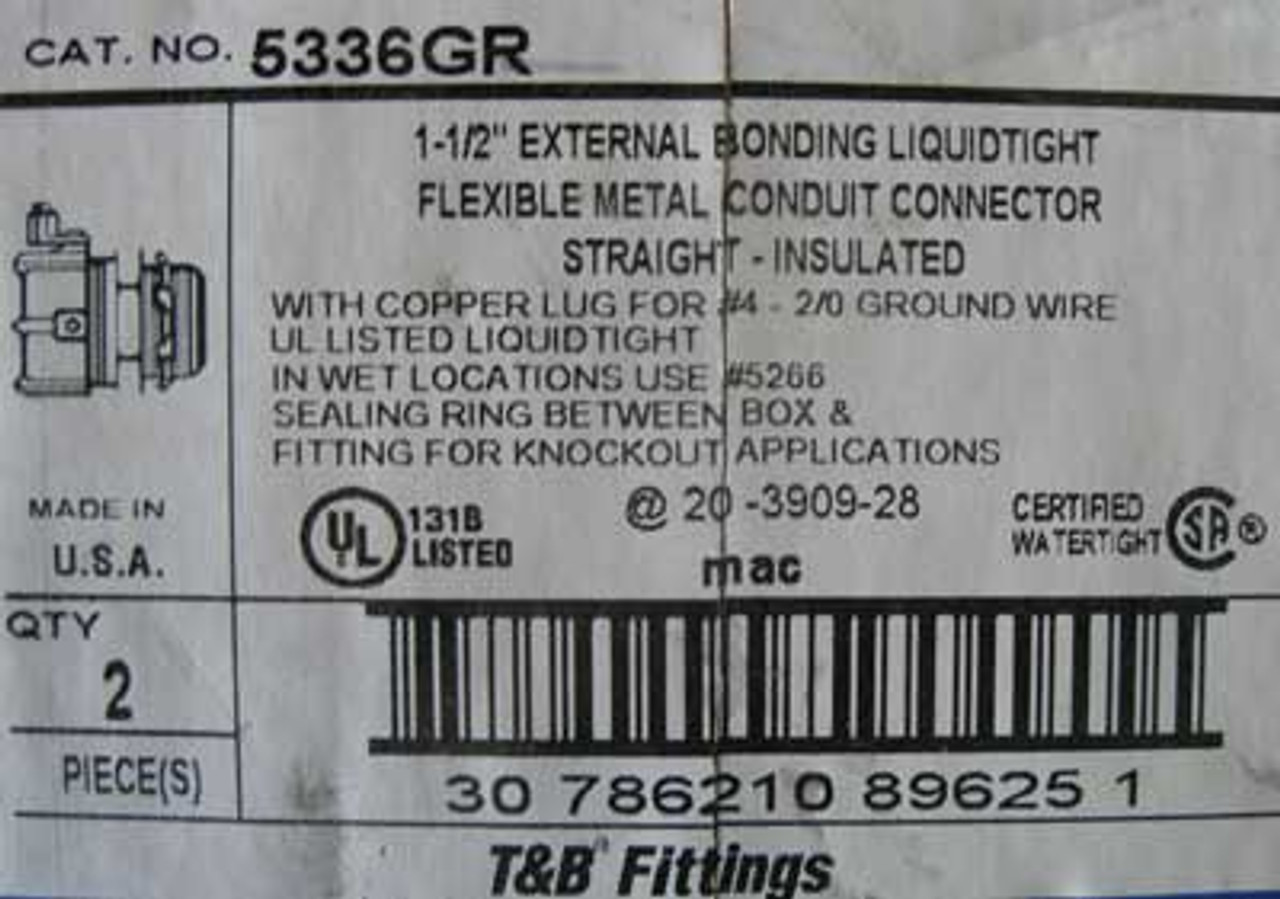 """T&B Fittings 5336GR 1-1/2"""" Conduit Connector Straight, Box of 2 - New"""