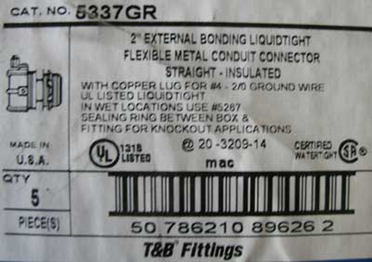 """T&B Fittings 5337GR 2"""" Conduit Connector Straight, Box of 5 - New"""