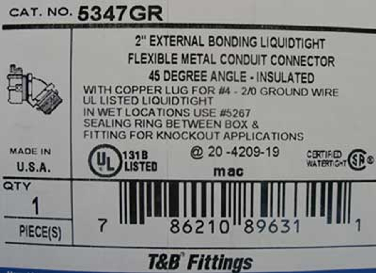 """T&B Fittings 5347GR 2"""" Conduit Connector w/ 45 Degree Angle - New"""