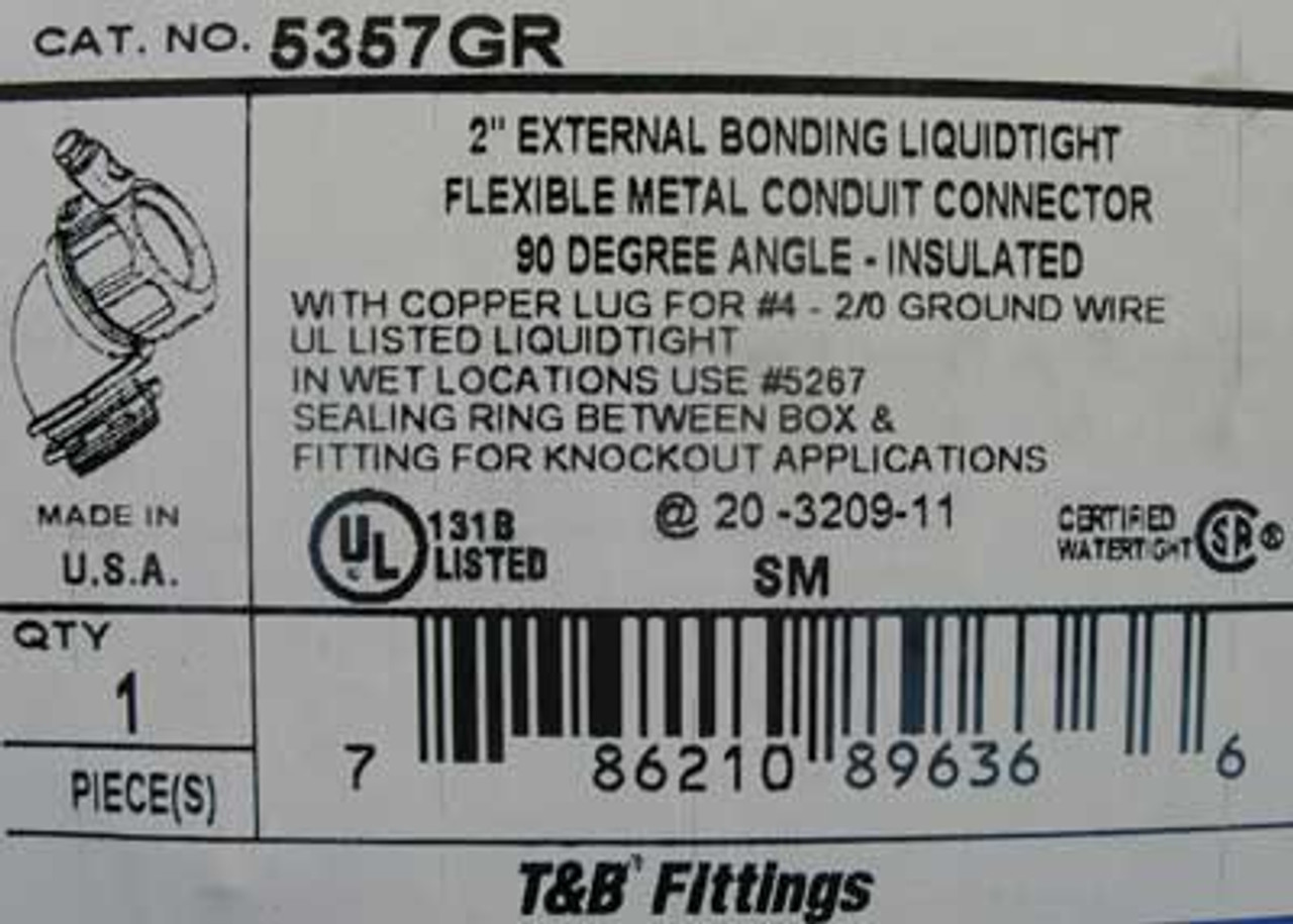 """T&B Fittings 5357GR 2"""" Conduit Connector w/ 90 Degree Angle - New"""