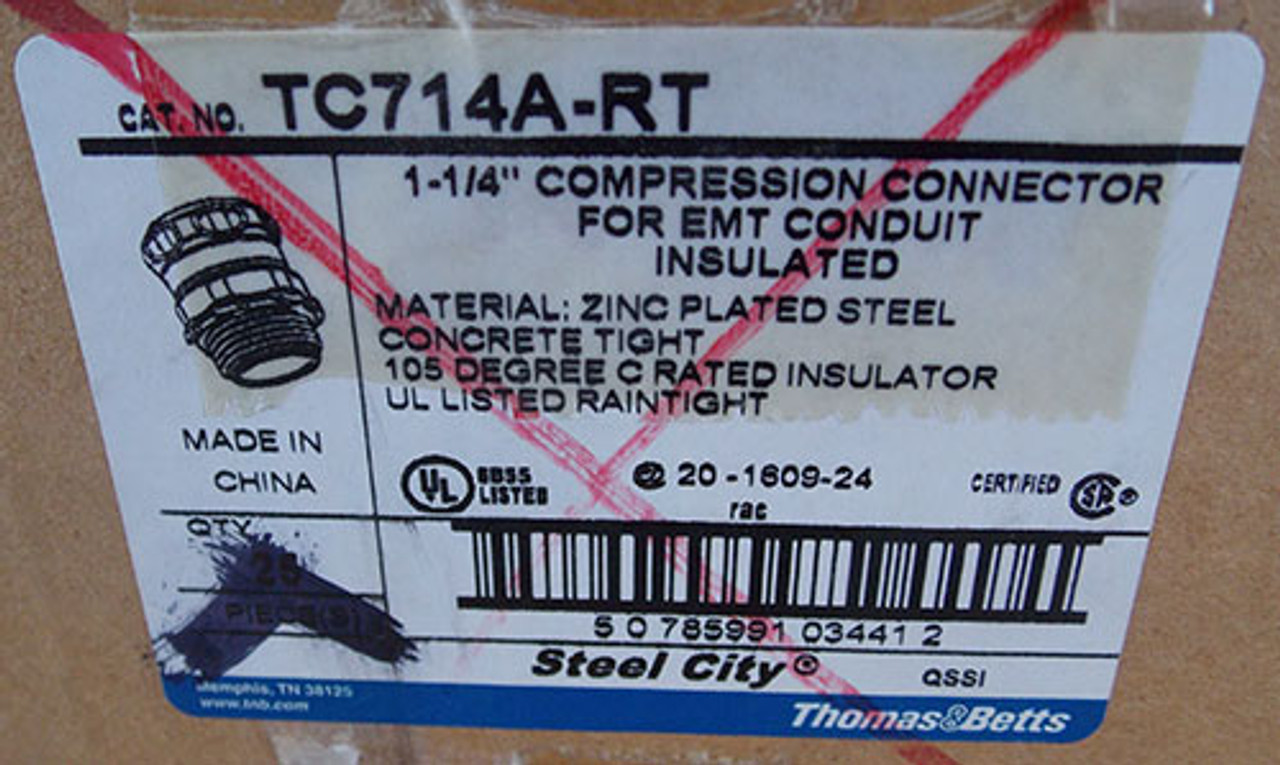 "T&B TC714-ART 1 1/4"" Steel-Zinc Insulated Compression Connector - New"