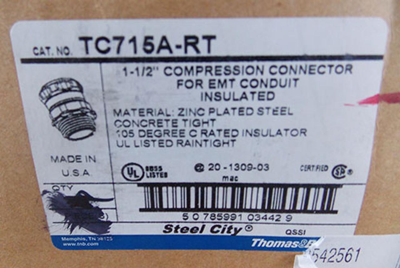 "T&B TC715-ART 1 1/2"" Steel-Zinc Insulated Compression Connector - New"