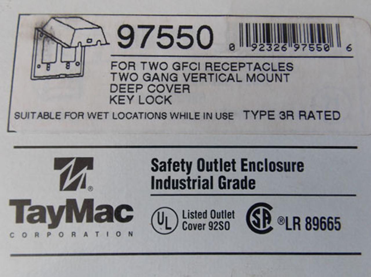 TayMac 97550 Two Gang Vertical Mount Deep Cover Key Lock Enclosure N3R - New