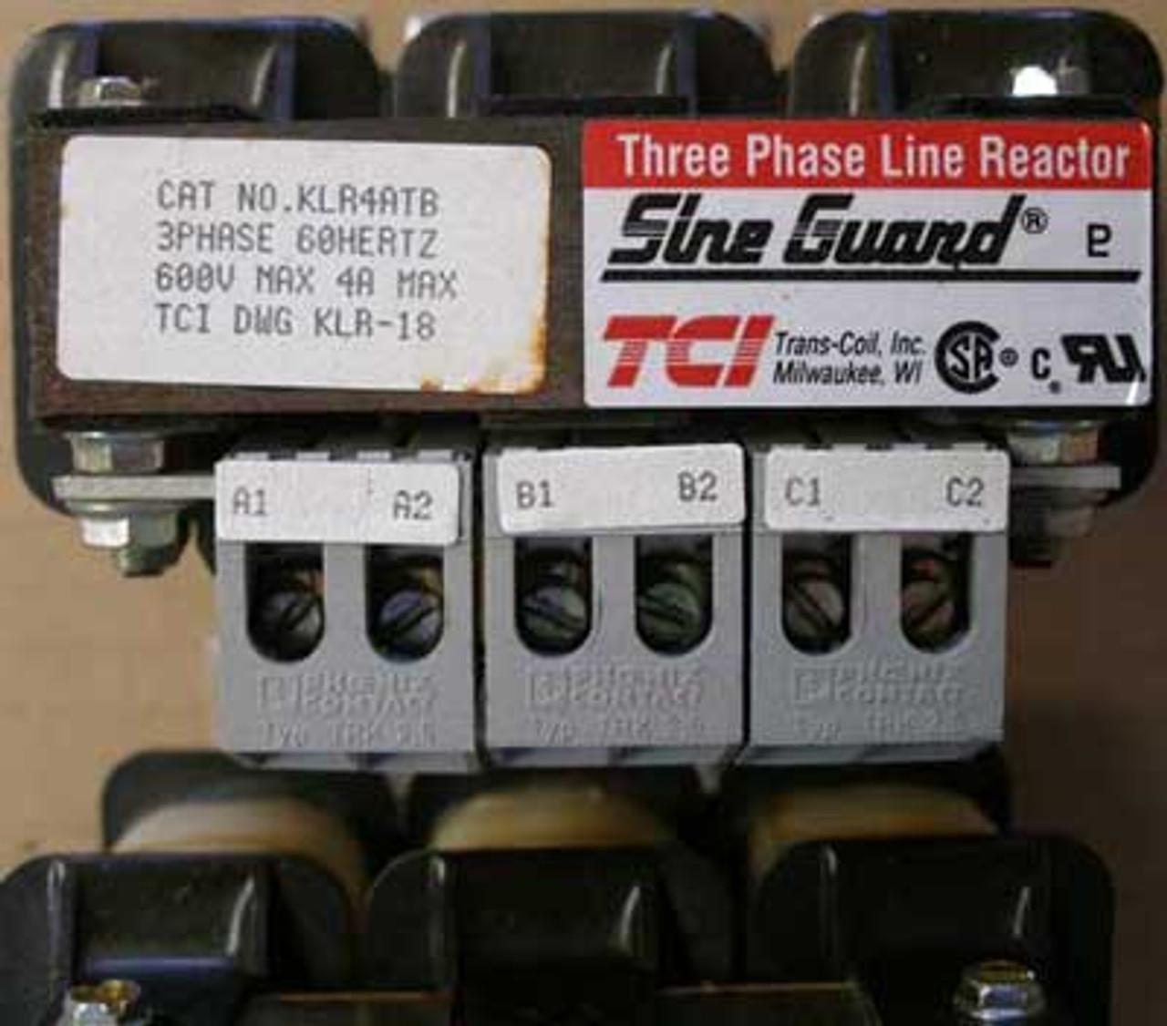 TCI Sine Guard KLR4ATB 3 Phase LIne Reactor 600V 4 Amp - Used