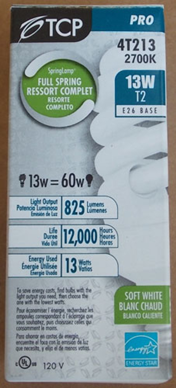 TCP 4T213 13W=60W 120V 2700K T2 E26 Base Light Bulb in Soft White, Lot of 2 - New