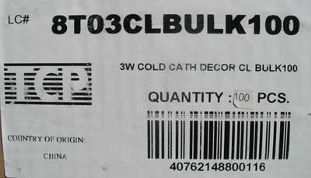 TCP 8T03CL 3W 120V Cold Cathode Compact Fluorescent Lamp, Lot of 2 - New