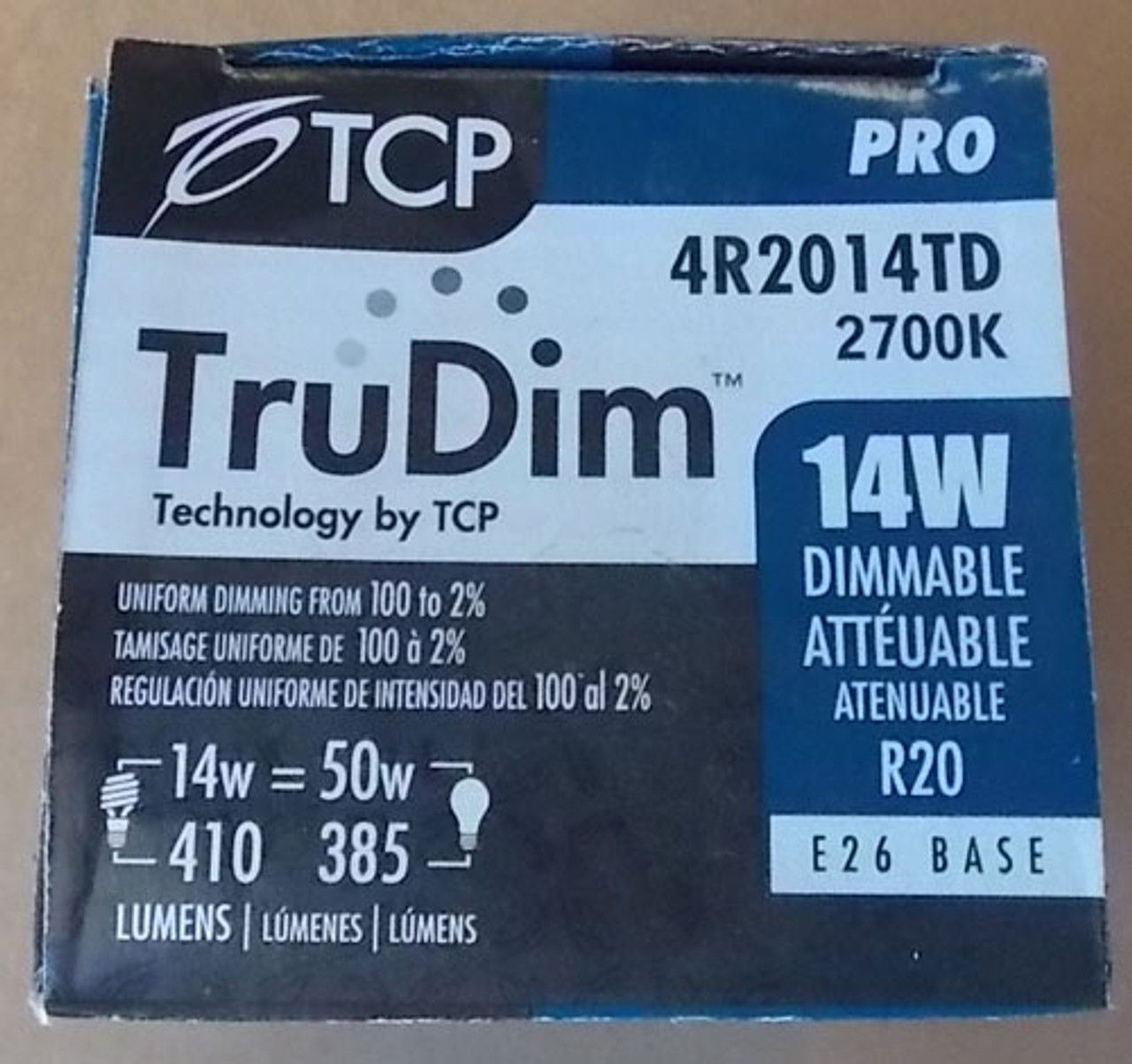 TCP TruDim 4R2014TD 14W 120V 2700K E26 Base Dimmable Light Bulb - New