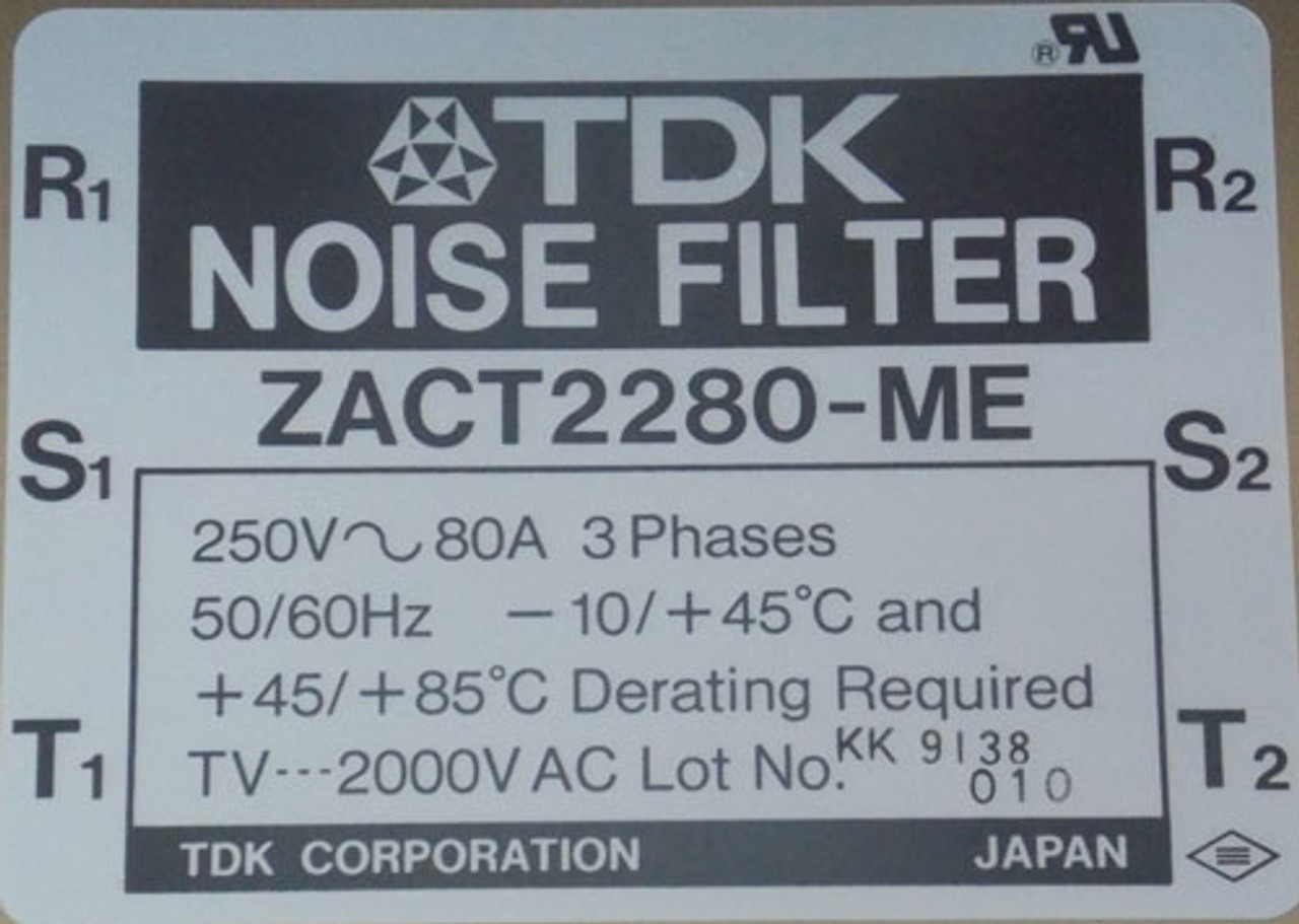 TDK ZACT2280-ME Noise Filter 3 Phase 80A 250V - Used