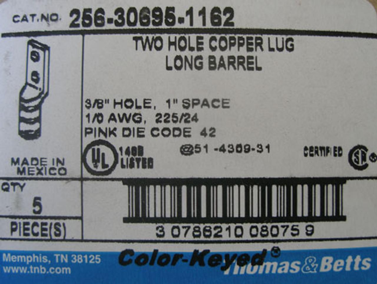 Thomas & Betts 256-30695-1162 2 Hole Long Barrel Copper Lug, Lot of 5 - New
