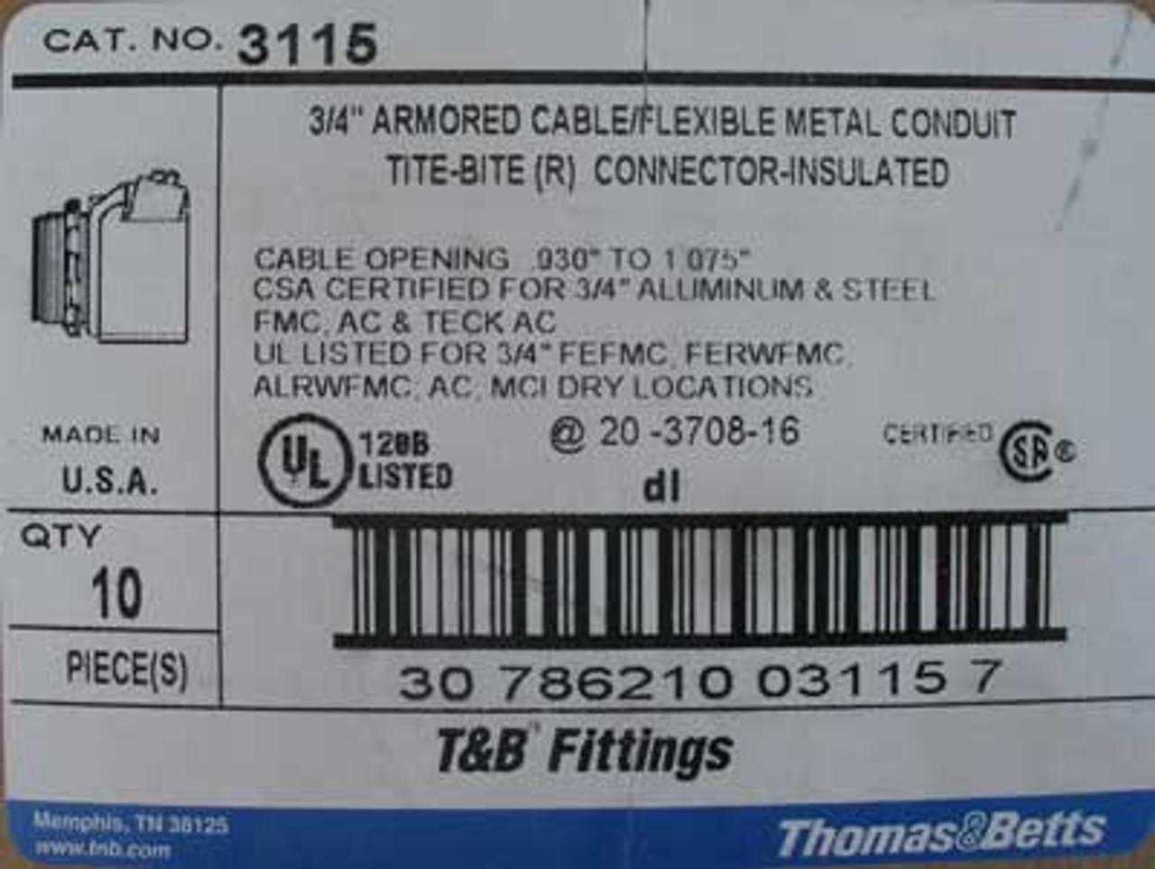 "Thomas & Betts 3115 3/4"" Metal Conduit Tite-Bite Connector (Box of 10) - New"