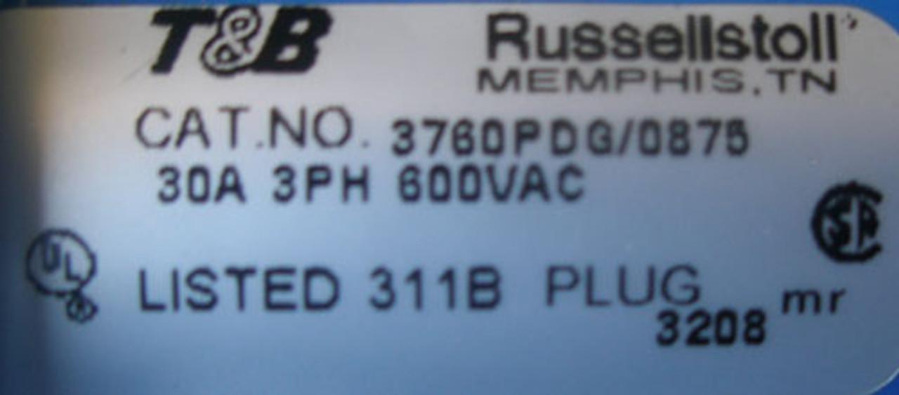 Thomas & Betts 3760PDG/0875 30A 3PH 600VAC 3P 4W Non-Metalic Plug - New