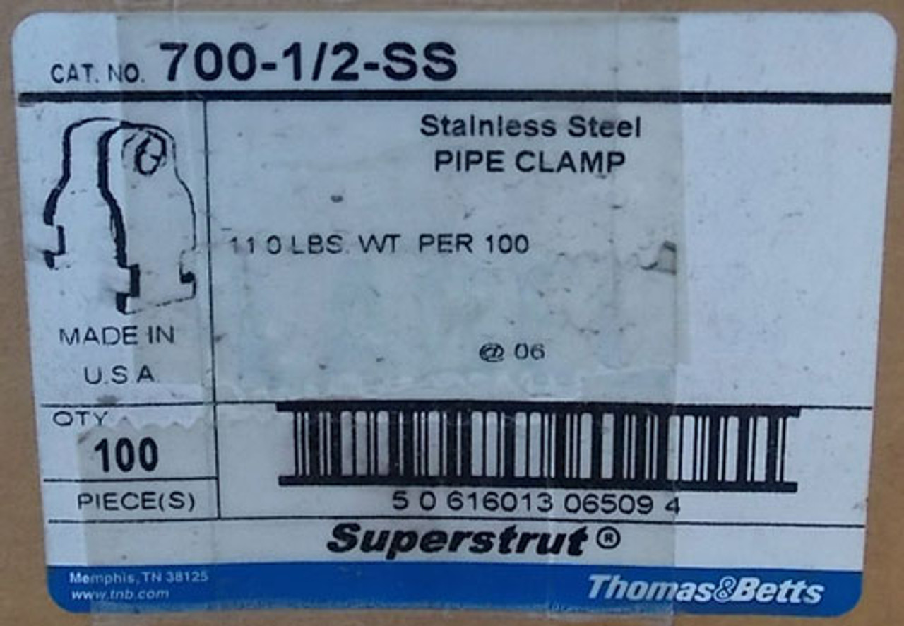 """Thomas & Betts 700-1/2-SS 1/2"""" Stainless Steel Superstrut Pipe Clamp, 100 Per Box - New"""