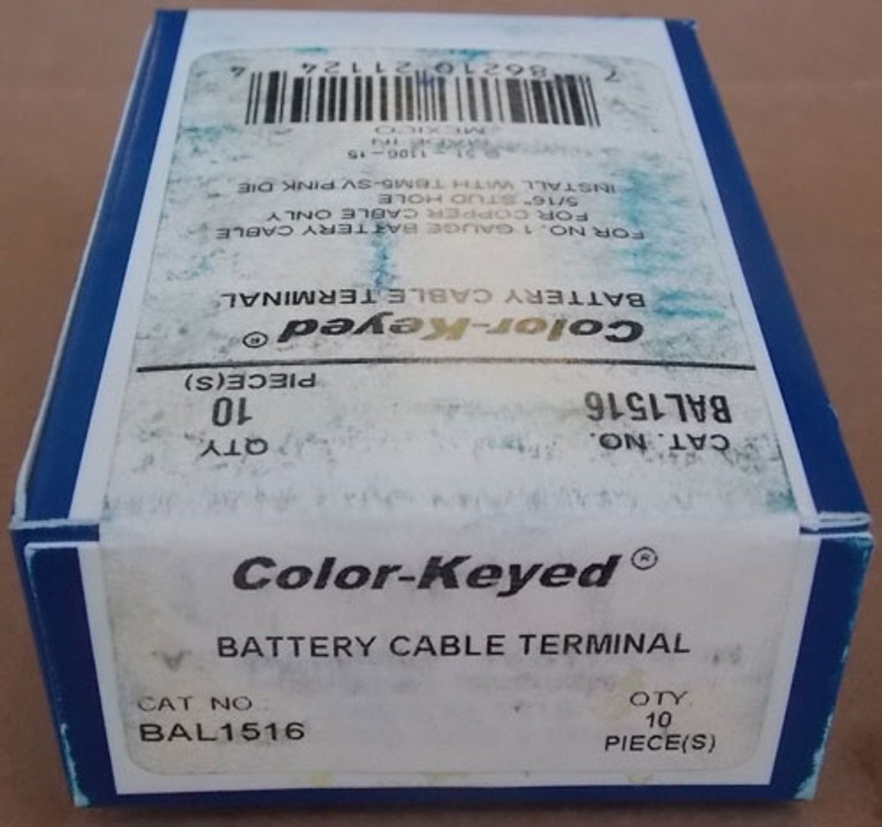 """Thomas & Betts BAL1516 5/16"""" Stud Hole Battery Cable Terminal, Lot of 10 - New"""