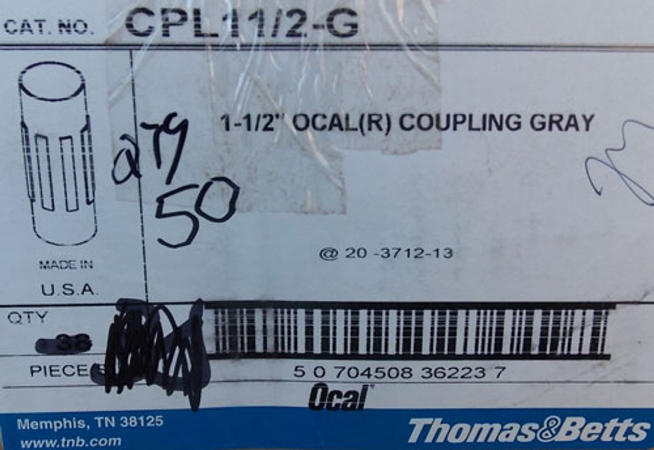 """Thomas & Betts CPL11/2-G 1/1/2"""" OCAL (R) PVC Coated Coupling in Gray, 50 Lot - New"""
