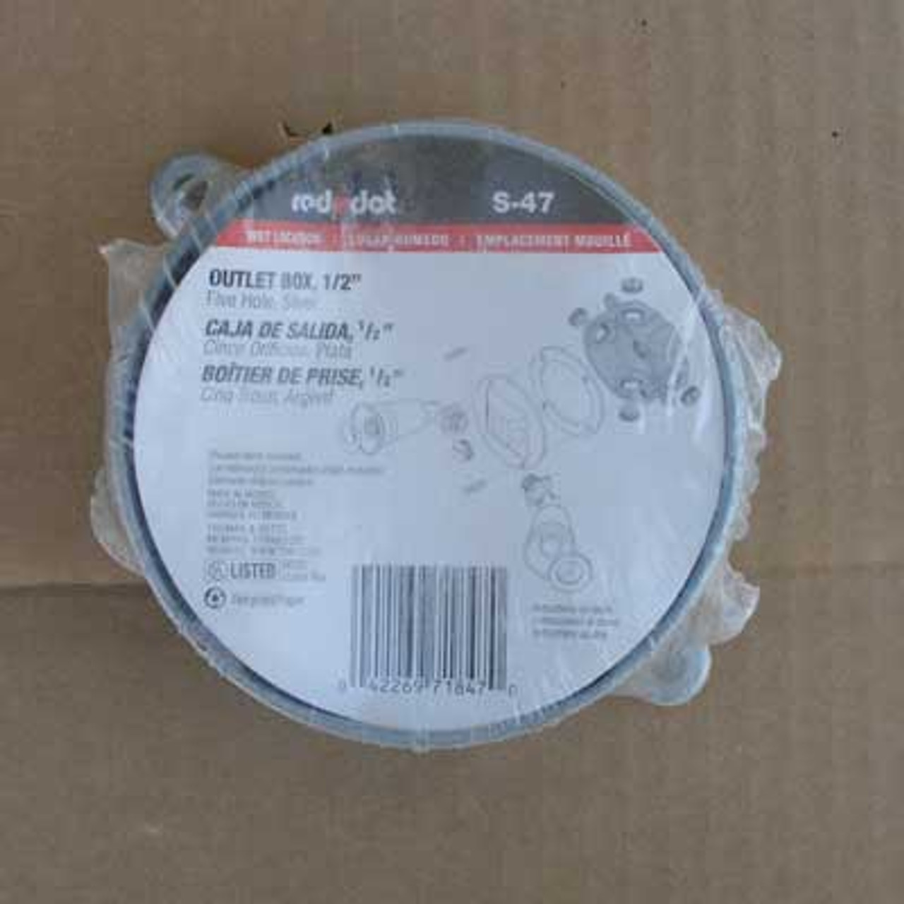 """Thomas & Betts Red Dot S-47 1/2"""" Outlet Box, 5 Hole, Silver - New"""