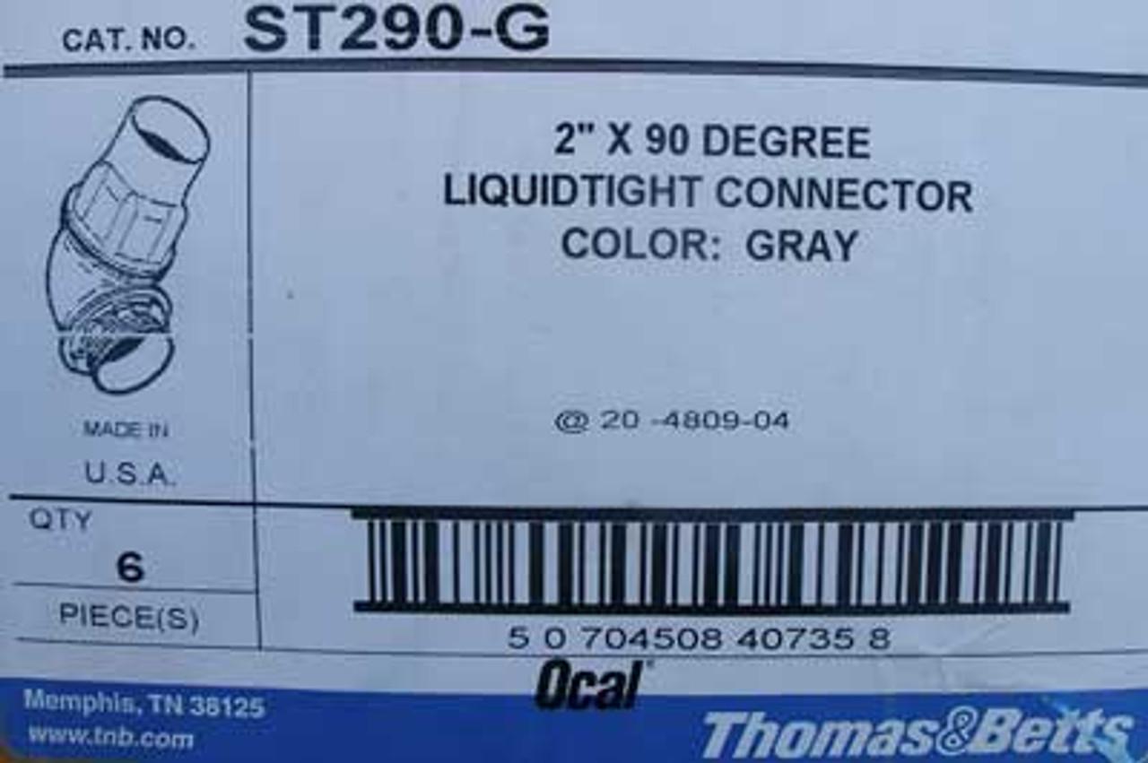 "Thomas & Betts ST290-G 2"" x 90 Degree LiquidTight Connector Gray - New"
