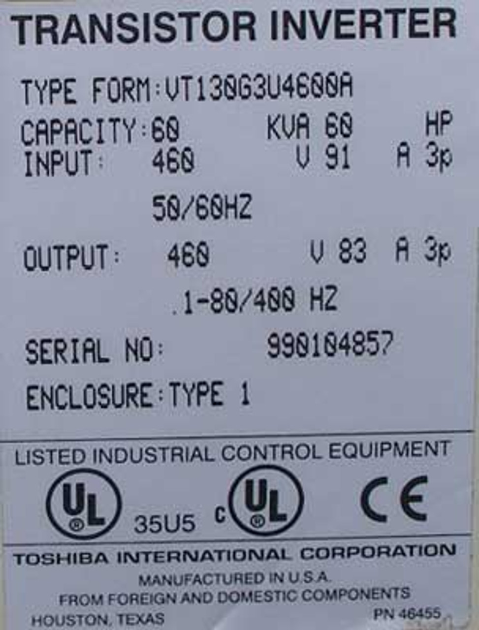 Toshiba 60 HP 460 Volt G3 TOSVERT-130 Variable Frequency Drive, N1 - Used