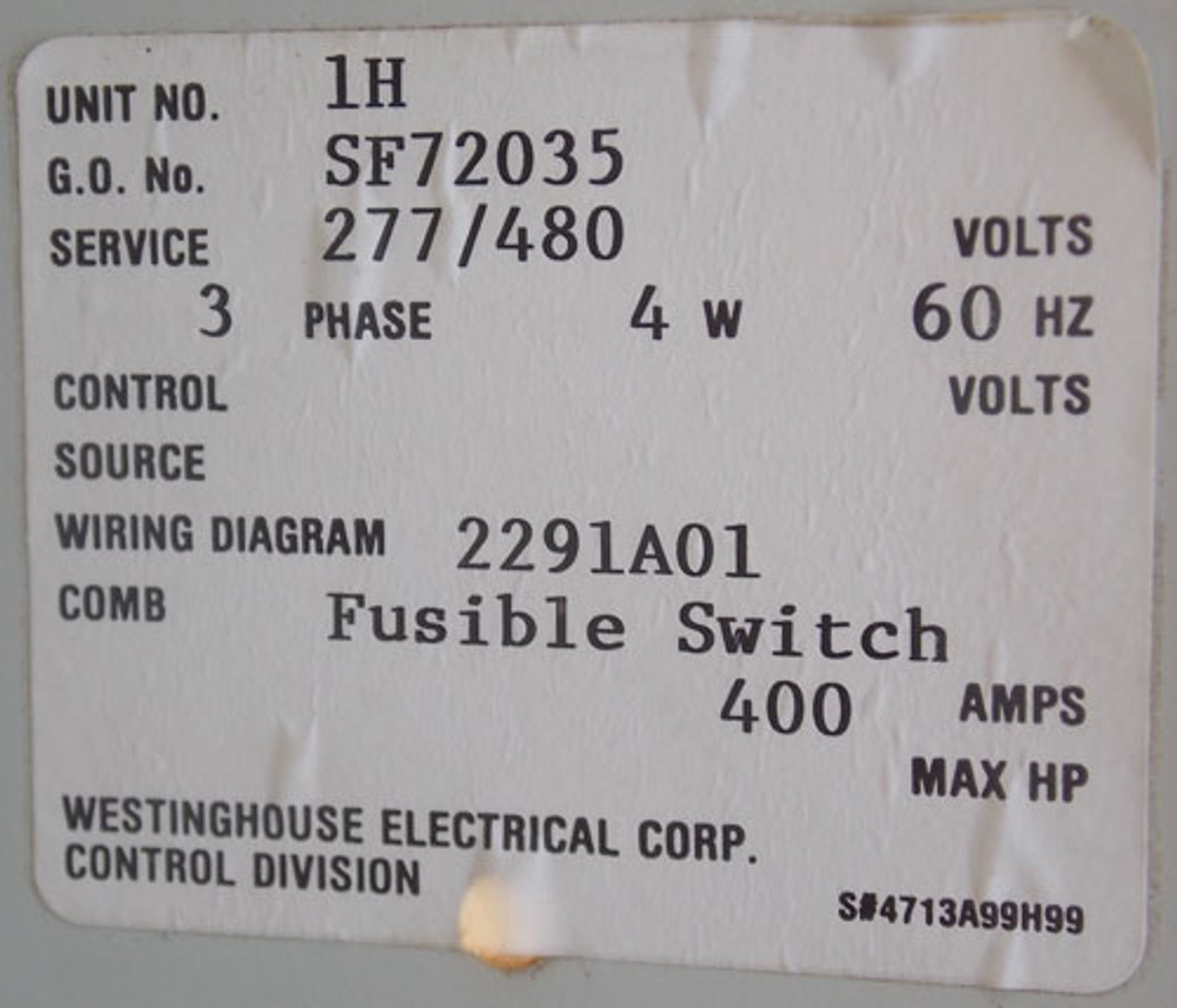 Westinghouse 2100 Series Motor Control Bucket 400A 480/277V 3PH - Used