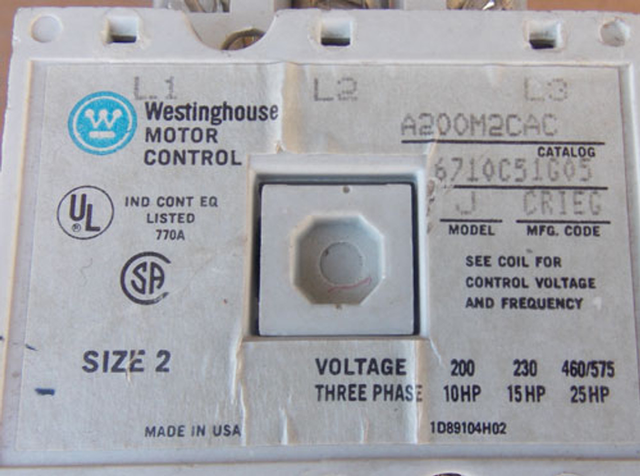 Westinghouse A200M2CAC Size 2 Magnetic Starter 3 Pole 120V Coil - Used