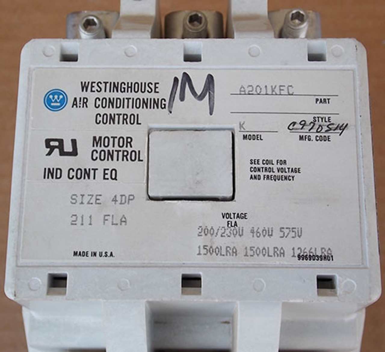Westinghouse A201KFC Size 4DP Magnetic Contactor 211 Amp 3P 120V - Used