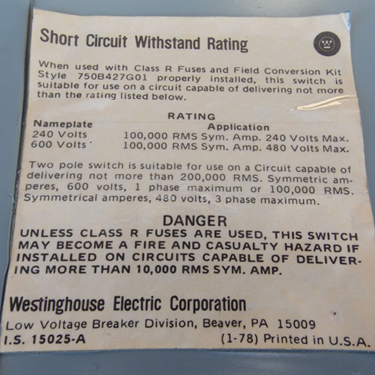 Westinghouse FDP326 600A 240V 3PH Series A Fusible Panel Switch - Reconditioned