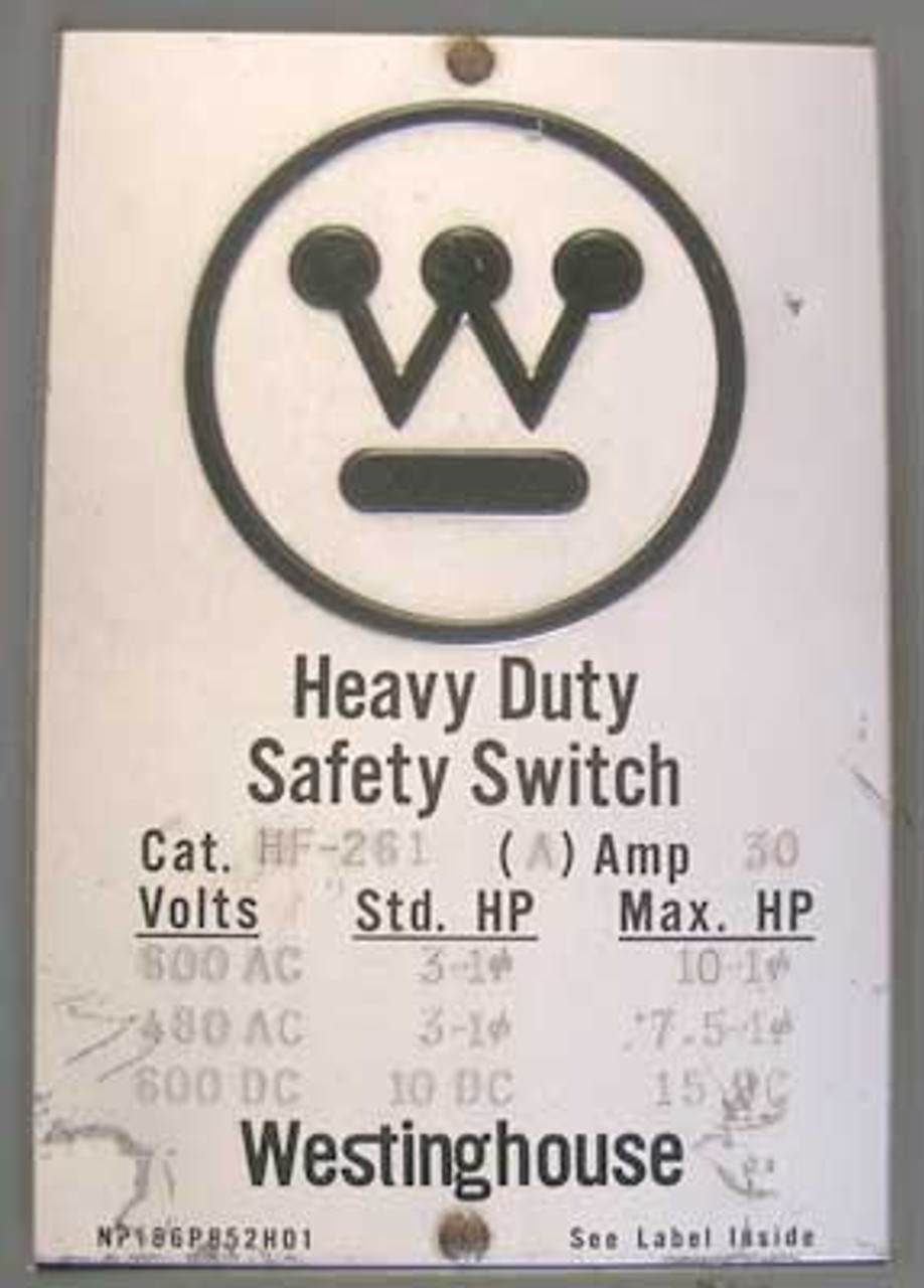 Westinghouse HF-261 30 Amp, 1 Phase, 600 Volt, Indoor Disconnect - Used