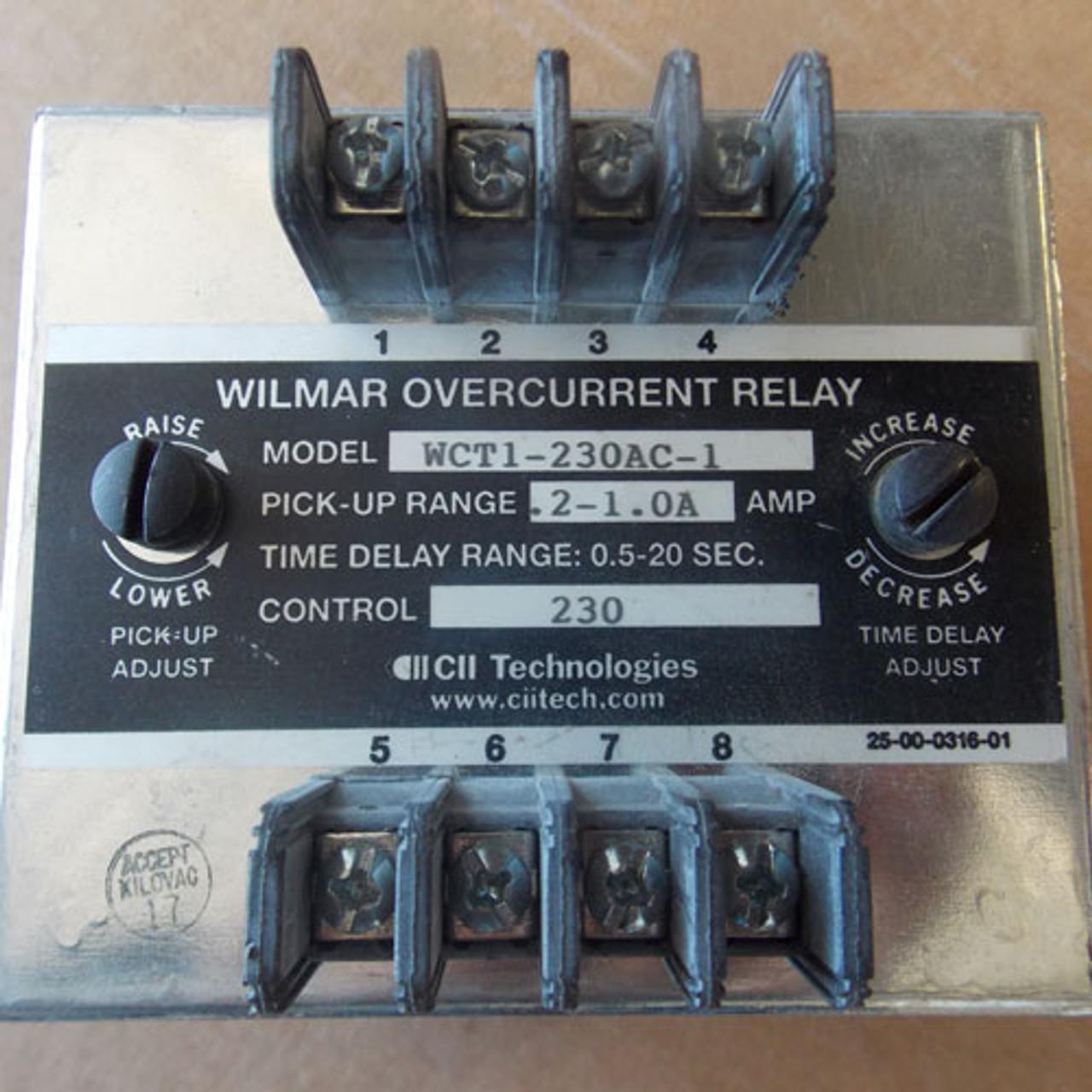 Wilmar WCT1-230AC-1 Overcurrent Relay 230 VAC -Used