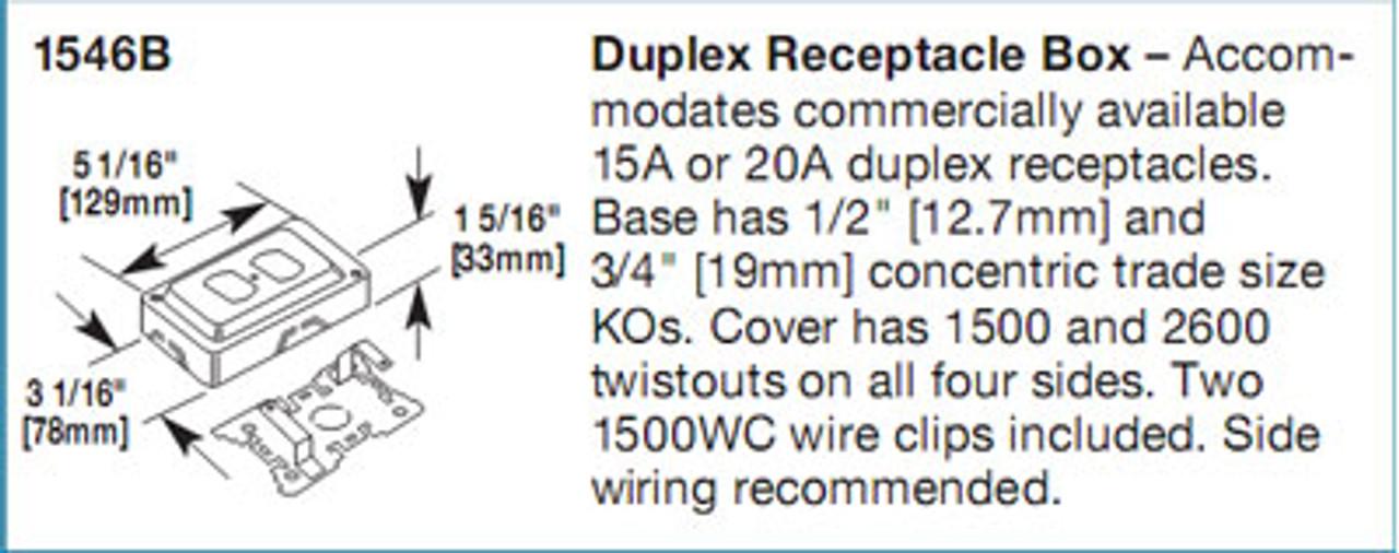 Wiremold 1546B Duplex Receptacle Box Gray Qty. 1 - New
