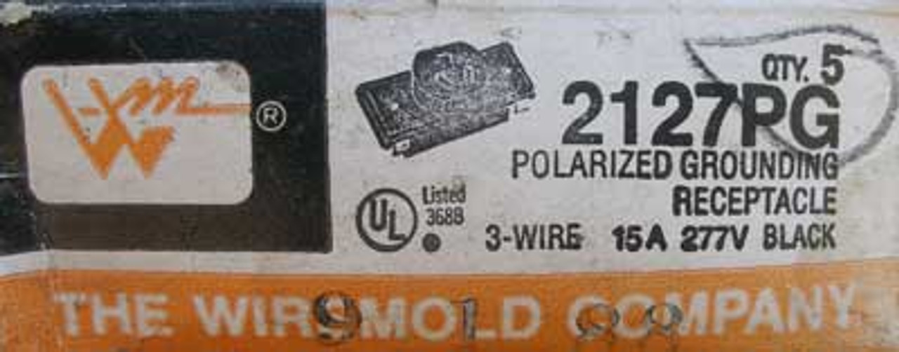 Wiremold 2127PG Polarized Ground Receptacle 3W 15A 277V Black - Lot of 3