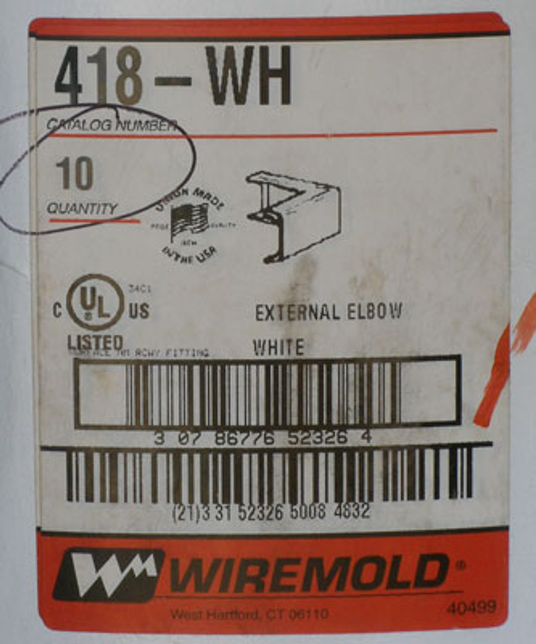 Wiremold External Elbow White Box of 10 - NEW