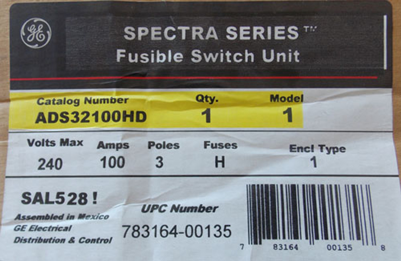 General Electric ADS32100HD 100 Amp 240V 3 Pole Twin Fusible Panel Switch - New