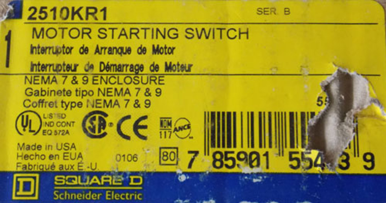 Square D 2510 KR1 Motor Starting Switch Nema 7 & 9 Enclosure - New