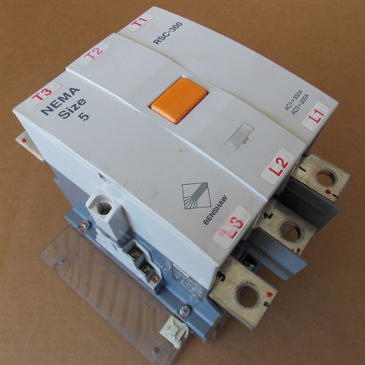 Benshaw RSC-300 Nema Size 5 3 Pole 350 Amp Magnetic Contactor 120/240V Coil - Used