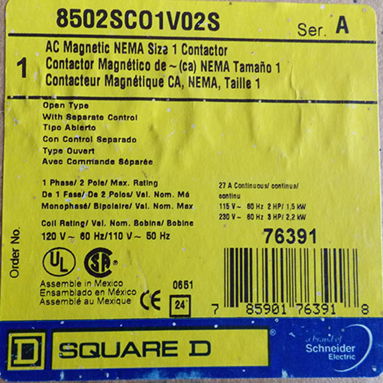 Square D 8502SCO1V02S Sz 1 AC Magnetic Contactor 27A 1PH 2P Open - New