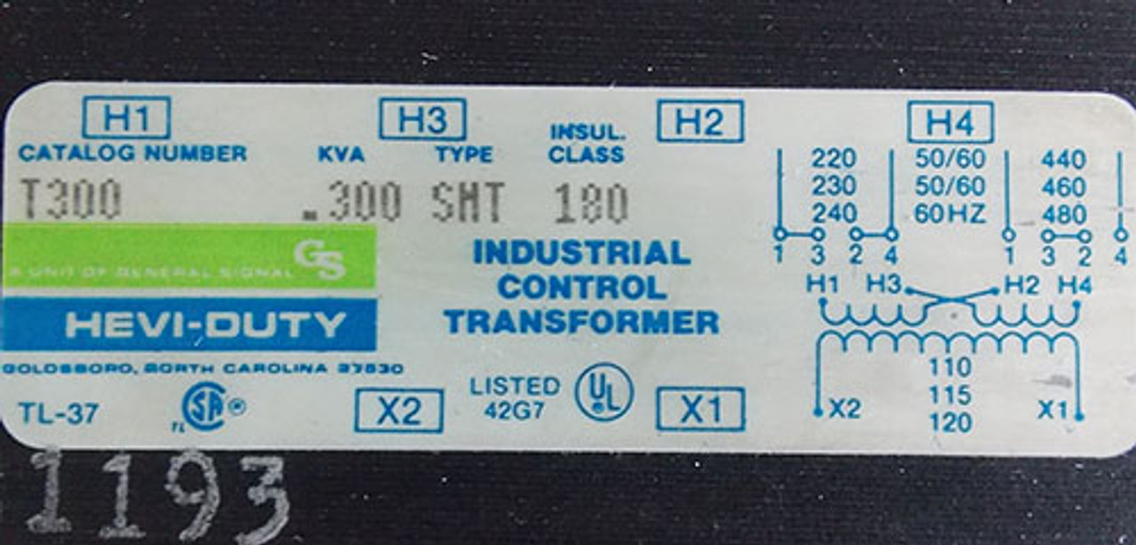Hevi-Duty T300 .300 KVA 240/480 to 120V SMT Ind Control Transformer - Used