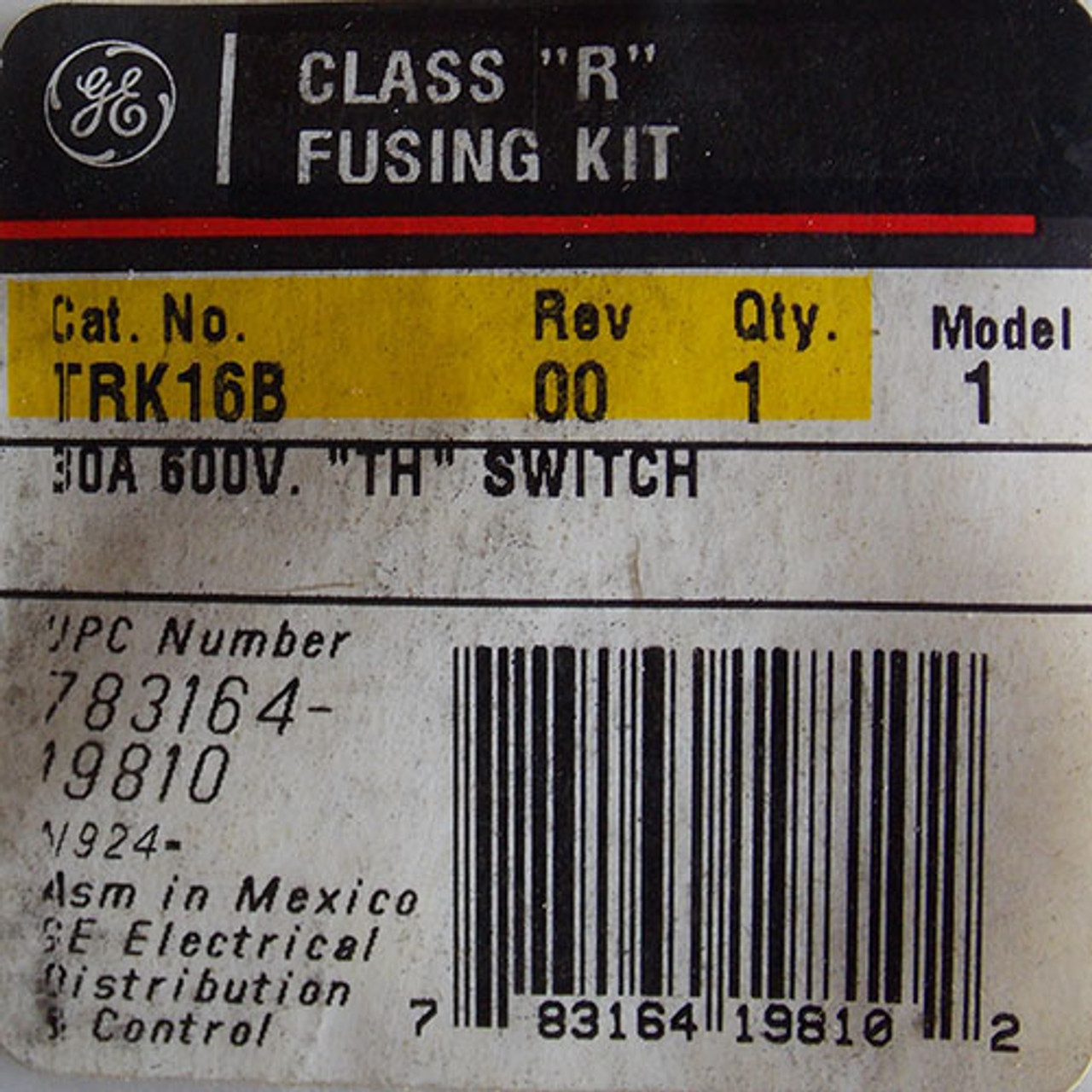 """General Electric TRK16B Class """"R"""" Fusing Kit 30 Amp 600V """"TH"""" Switch - New"""