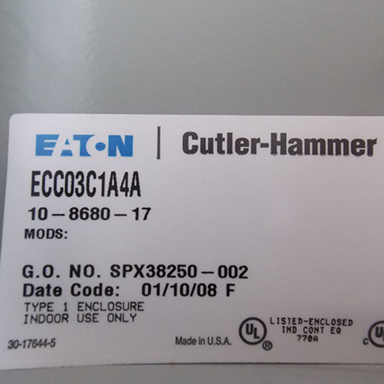 Cutler Hammer ECC03C1A4A 20 Amp 4 Pole 120V Coil Lighting Contactor  N1 - New